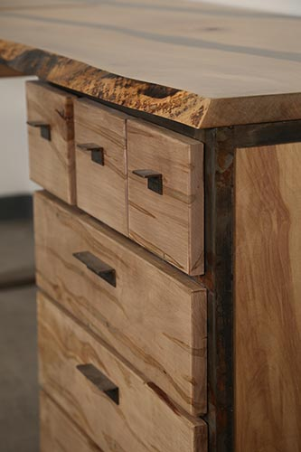 Close-up of Landon Mayer desk drawers