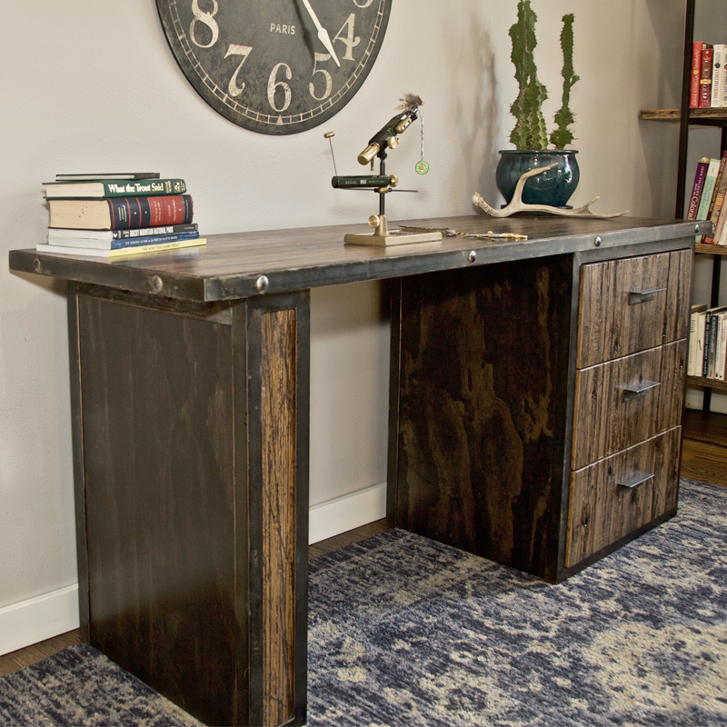 Rustic industrial San Juan Fly Tying Desk with metal frame